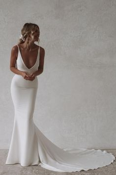 ARCHIE : Made With Love, Unique Bridal #tattooideas #tattoosforwomen Wedding Dress Low Back, Dream Wedding Dresses, Prom Dresses, Simple Classy Wedding Dress, Cowl Neck Wedding Dress, Sleek Wedding Dress, Delicate Wedding Dress, Simple Bridal Dresses, Satin Mermaid Wedding Dress