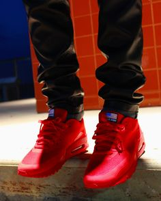 "I want a pair of these in a 9.5 with all my heart and soul!!!  (Air Max 90 Hyperfuse QS ""Independence Day"" Red) - Christopher Walks  Follow me! @christopherwalks (IG)"