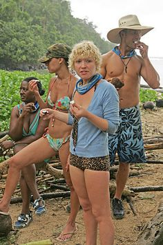 """Cirie Fields, Stephenie LaGrossa, Jessica """"Sugar"""" Kiper, and Colby Donaldson on Survivor from the episode """"Slay Everyone, Trust No One""""."""