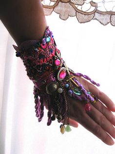Reflectance Gypsy JanglePurple Beaded Bracelet by AllThingsPretty, $165.00