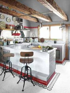 Just LOOK at Neko's kitchen!! [Neko Case Vermont Farmhouse - Country Living]