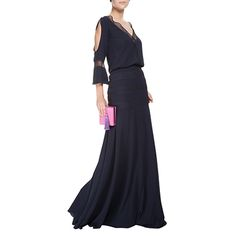 CANDY BROWN - Vestido longo Candy Brown tela - marinho - OQVestir