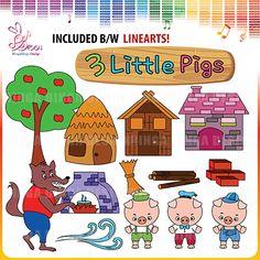 Three Little Pigs Ciipart by Ringa Dinga Design