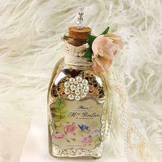 French Vintage Perfume Label Decorative Bottle~Shabby Chic Roses Mercury Glass  #Handmade
