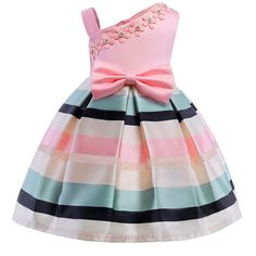 Bear Leader Girls Dresses New Girls Pearl Flower Party Sleeveless Dress Strap Stripe Princess Bow Dress For Years Toddler Girl Dresses, Little Girl Dresses, Girls Dresses, Dress Girl, Party Dresses, Gown Dress, Tutu Dresses, Girls Easter Dresses, Party Outfits