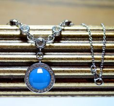 Bright Blue Turquoise Silver Necklace with Crystal by barargent, $40.00