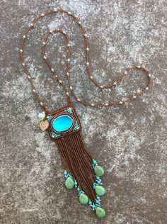 Desert Bloom Beadwork Necklace - Bead Embroidery - Hippie Bohemian Necklace - Statement Fringe Necklace - Southwestern Jewelry Art by HollyBeanDesign on Etsy