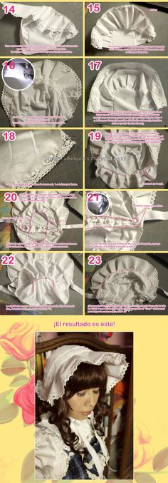 bonnet - tutorial part 2 Baby Patterns, Doll Patterns, Sewing Patterns, Sewing For Kids, Baby Sewing, Sewing Tutorials, Sewing Projects, Bonnet Pattern, Hat Tutorial
