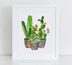 Cactus Art Print, impresión del arte del jardín de plantas de Cactus, Home Sweet Home Imprimibles, Instant Download, decoración casera, jardín hogar lámina imprimible