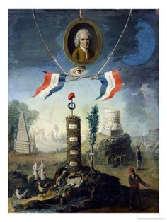 An Allegory of the Revolution with a Portrait Medallion of Jean-Jacques Rousseau (1712-78) 1794 by Nicholas Henry Jeaurat de Berty
