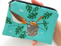 So cute! Organic Vireo Zipper Pouch Little Coin Purse ECO Friendly Padded by JPATPURSES, $9.00