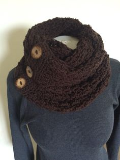 Infinity scarf with 3 decorative buttons