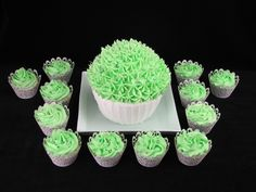 Giant cupcake: I took these to our family's Kris Kringle get together. They are vanilla cake with buttercream frosting. Giant Cupcakes, Buttercream Frosting, Vanilla Cake, Desserts, Food, Tailgate Desserts, Buttercream Icing, Dessert, Postres
