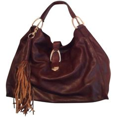 Pre-owned Hobo Bag ($194) ❤ liked on Polyvore featuring bags, handbags, shoulder bags, brown, hobo purses, brown hobo purse, genuine leather handbags, genuine leather hobo handbags and leather handbags