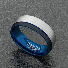 Tri Tone 🅱️lack⚫ White Tungsten Ring with Centre Groove Polished DoⓂ️e Blue 💙😍 - -  Silicone Rings, How To Look Better, Rings For Men, Tungsten Rings, Menswear, Style Inspiration, Mens Fashion, Black And White, Centre