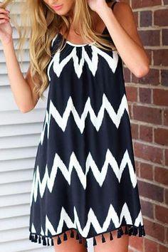 Ripple Print Backless Tassel Splicing Dress