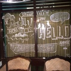 Welcome sign at the window