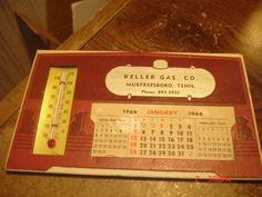Murfreesboro Tn Ad Calendar & Thermometer 1964 KELLER GASS CO.