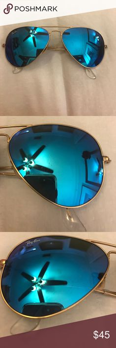 Raybans Authentic (USED) Blue Tint Sunglasses used raybans, scratches on both lenses, includes cloth, original packaging paper, glasses, and case. Ray-Ban Accessories Sunglasses