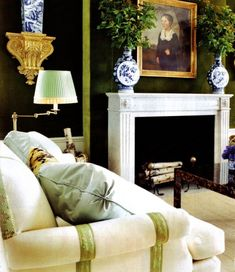Stylish Dark Green Walls Living Room Design Ideas – Decorating Ideas - Home Decor Ideas and Tips House Design, Room Design, Decor, Interior Design, Green Walls Living Room, Home, Apartment Design, Home Decor, Living Room Designs