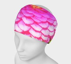 Custom Fashion Headband, Pretty Round Pink Zinnia in the Summer Garden Headband, Comfortable Stretchy Yoga Headband and Scarf for Women Yoga Headband, Fabric Headbands, Headband Styles, Garden Features, Headbands For Women, Zinnias, Summer Garden, Head Wraps, Womens Scarves