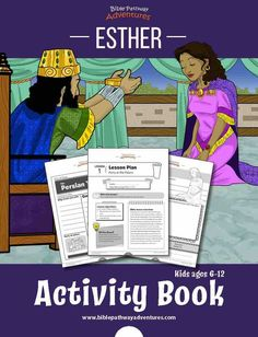 Esther Activity Book and Lesson Plans. Printable Esther activity sheets for Kids, including Bible quizzes and lesson plans. Learn about the history of Purim. Bible Activities, Activity Books, Learning Activities, Bible Study Guide, Study Guides, Bible Heroes, Bible Quiz, Bible Lessons For Kids, Fun Worksheets
