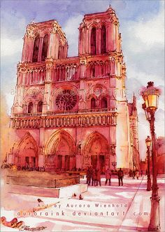 Notre Dame - Watercolor Study by *AuroraInk