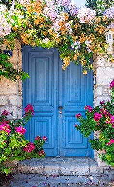 Doorway with large beautiful pots