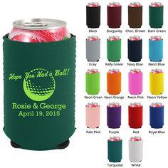 Personalized Neoprene Koozies (Clipart 1183) Golf Theme - Wedding Koozies - Custom Koozies - Wedding Favor Koozie - Beer Coozie