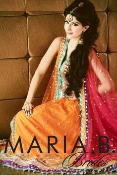 Pakistani Indian Colorful Mehndi Dresses 2014 for Girls