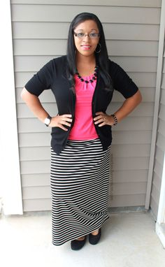 pink and black and white striped j. crew maxi skirt easy teacher outfit idea