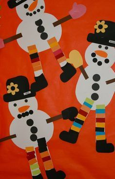 Cute snowman craft for kids to use with the book Snowmen at Night - would make a cute bulletin board!use paper punches Winter Art Projects, Winter Crafts For Kids, Winter Fun, Winter Theme, Winter Ideas, Snow Theme, Preschool Christmas, Christmas Activities, Christmas Art