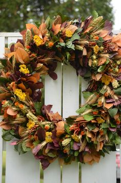 "Fall Harvest Wreath, 26"", Large Fall Wreath, preserved wreath,  fall wreath, purple, harvest, autumn wreath, fall decor, Thanksgiving Wreath by TheBlaithinBlairShop on Etsy"