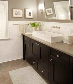 love this white bathroom sink the dark wood cabinets and the white tiles walls - Painted Bathroom Cabinets Before And After