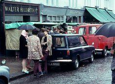 Vintage Cars Market day on Portabello Road, London circa David C. - Market day on Portabello Road, London circa 1969 Vintage London, Old London, West London, Vintage Shops, Vintage Trucks, London History, British History, Asian History, Tudor History