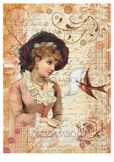 Calambour Mulberry Paper for Decoupage and decoration, Pattern: lady with swallow and writing. Details: size 33x48 cm, printed on 40 g/mq Mulberry Paper DGR 96