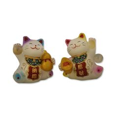 Pair Of Two Hand Painted Feng Shui Lucky Cats - FEN033  Price: $13.99