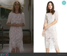 Teddy Altman Fashion on Greys Anatomy Grey's Anatomy Clothes, Greys Anatomy Set, Teddy Altman, Black And White T Shirts, Lace Skirt, Cold Shoulder Dress, White Dress, Fashion Outfits, Wedding Dresses