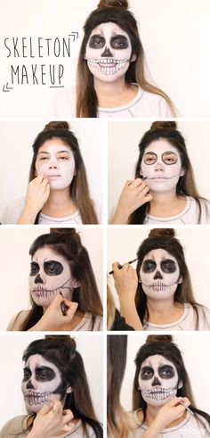 DIY Skeleton with makeup for Halloween. This step by step tutorial also has a video to show you how easy you can recreate this skeleton look yourself! http://www.ehow.com/how_5463658_do-skeleton-halloween-makeup.html?utm_source=pinterest.com&utm_medium=referral&utm_content=freestyle&utm_campaign=fanpage
