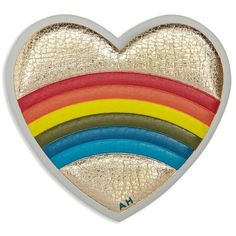 Anya Hindmarch Rainbow Love Heart Sticker (260 ILS) ❤ liked on Polyvore featuring bags, wallets, genuine leather wallet, brown wallet, embossed wallet, real leather wallet and evening bags