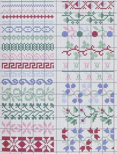Page of border patterns / chart for cross stitch, crochet, knitting, knotting, beading, weaving, pixel art, micro macrame, and other crafting projects.