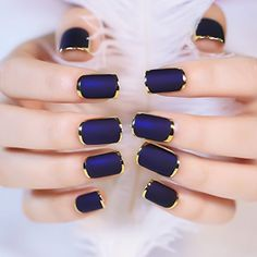 YUNAI 24PCS Matte with Metallic French Acrylic False Nail Fake Full Nail Tip Art Dark Blue -- Read more  at the image link. Note:It is Affiliate Link to Amazon.