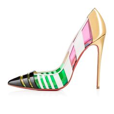 """Bandy"" lets you celebrate the Spring/Summer season joyously.  Alternating stripes of multicolored kid leather, PVC, and patent allow the foot a little exposure while remaining professional.  Finished with an alluring gold specchio leather heel, this 120mm pump brings a welcomed dose of color to your ensembles."