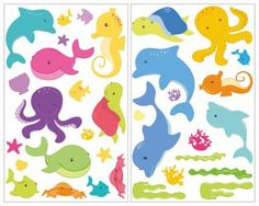 Trend  teiliges Comic Fische Wandtattoo Comic Fische Wandtattoo Set