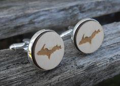Upper Peninsula Michigan Wood Cufflinks. Laser Engraved. Wedding, Men's, Groomsmen Gift, Dad. UP.  Custom Orders Welcome. Wolverines. by TreeTownPaper on Etsy