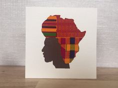 African man card, Map of Africa hairstyle, African print greeting cards, unique…