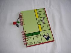 Journal/notebook made of recycled Monopoly board game by greenelephantuk