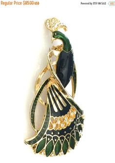 Fall Sale Green and Blue Enamel Peacock Brooch/Pendant, Large Bird Figural, Clear Chaton Rhinestones