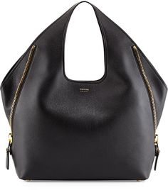 TOM FORD Jennifer Side-Zip Leather Hobo Bag, Black
