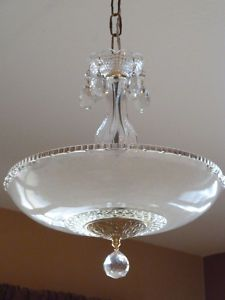 Antique Vintage Art Deco Chandelier Ceiling Light Fixture This would be perfect over table in kitchen since it has the crystal knob like the cabinets. Lampe Art Deco, Art Deco Chandelier, Art Deco Lamps, Art Deco Lighting, Chandelier Ceiling Lights, Ceiling Light Fixtures, Cool Lighting, Interior Lighting, Chandeliers